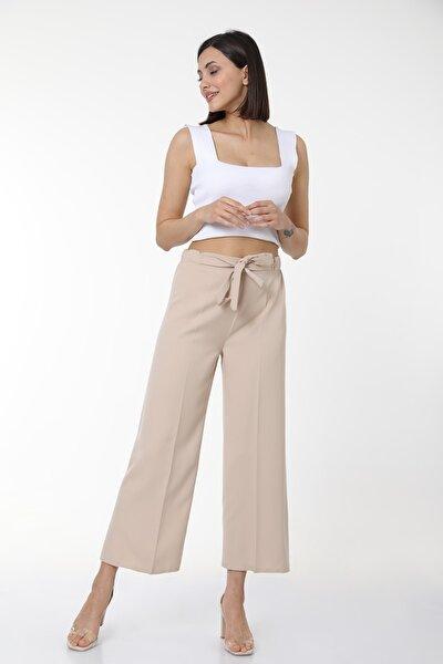 Kadın Taş Bel Lastikli Kuşaklı Geniş Paça Rahat Pantolon