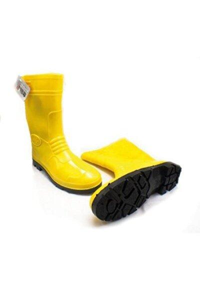 Unisex Sarı Pvc Kısa Lastik Çizme