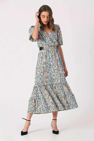 Kadın Mavi Kruvaze Kemer Detaylı Elbise