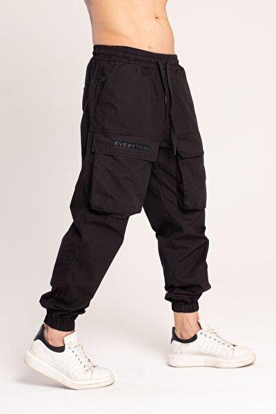 Paraşüt Kumaş Siyah Kargo Pantolon 3802-2