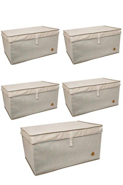 5 Adet Kapaklı Çok Amaçlı Kutu Çamaşır Saklama Düzenleme Hurç Kutu Mega 60x40x30 Kahverengi