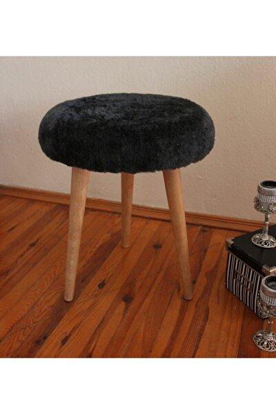 Neta Home Ahşap Ayak Dekoratif Antrasit Siyah Peluş Puf Tabure Bench Yuvarlak Koltuk Sandalye