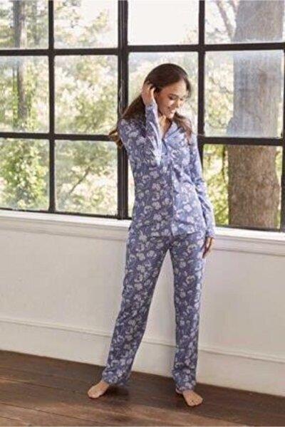 Esk27630 Kadın Pamuklu Çiçek Desen Gömlek Düğme Uk. Pijama Takım 21k