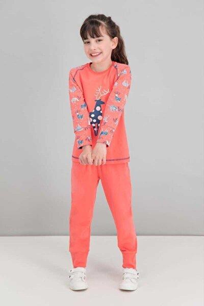Kız Çocuk Turuncu Uzun Kol Pijama Takımı rpoly15481
