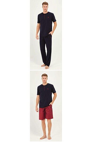 Us Polo Lacivert Pijama Takım + Sort 12010