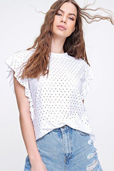 Kadın Beyaz Kolları Fırfırlı Fisto Örme Bluz ALC-X6211