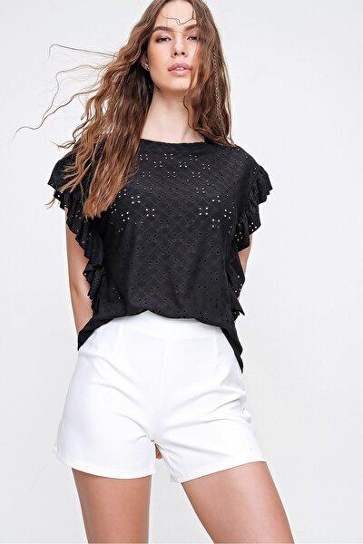 Kadın Siyah Kolları Fırfırlı Fisto Örme Bluz ALC-X6211