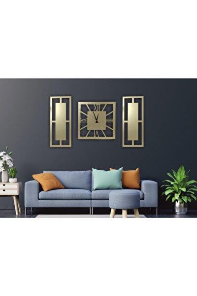 Gold Aynalı Kare 3 Lü Tablo Duvar Saati