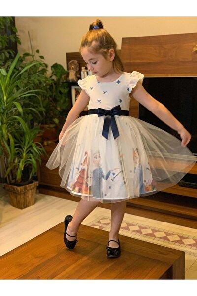 Kız Çocuk Beyaz Tüllü Elsa Elbise