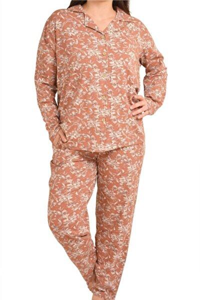 Kiremit Kadın Pijama Takımı Uzun Kollu Düğmeli Büyük Beden