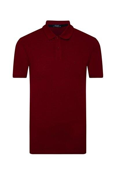 Erkek Bol Kesim Polo Yaka Bordo Tişört