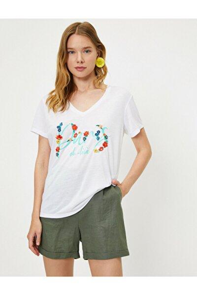 Kadın Ekru V Yaka Kısa Kollu T-Shirt