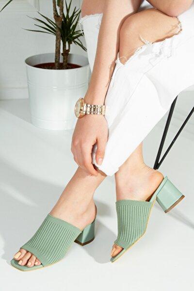 Gracy Kadın Yeşil Triko Topuklu Terlik