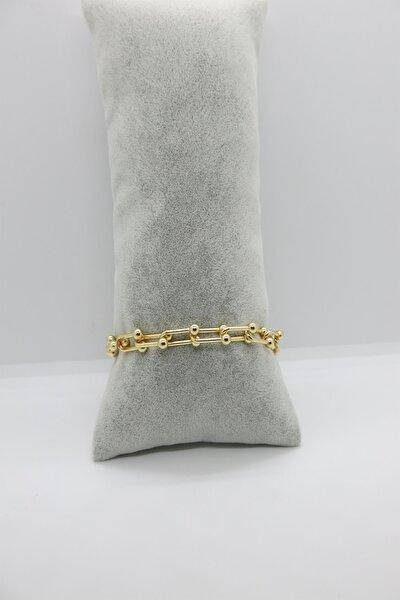 Kadın Altın Kaplama Top Uçlu Kalın Zincir Bileklik