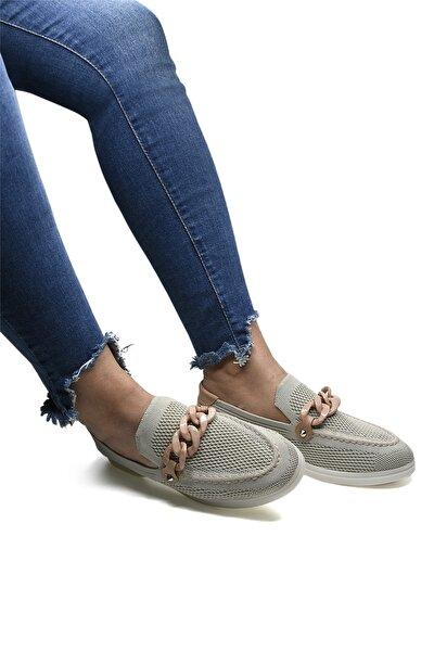 Kadın Bej Triko Tokalı Günlük Ayakkabı