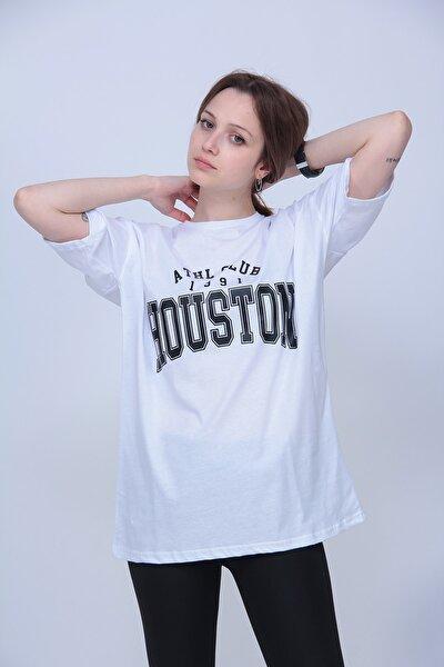 Kadın Beyaz Houston Oversize Tshirt