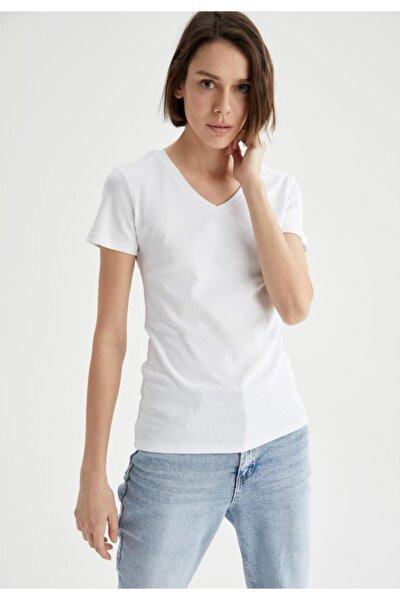 V Yaka Basic Relax Fit Kısa Kollu Tişört