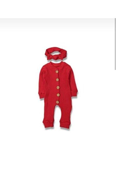 Kız Bebek Kırmızı Bandanalı Düğmeli Tulum