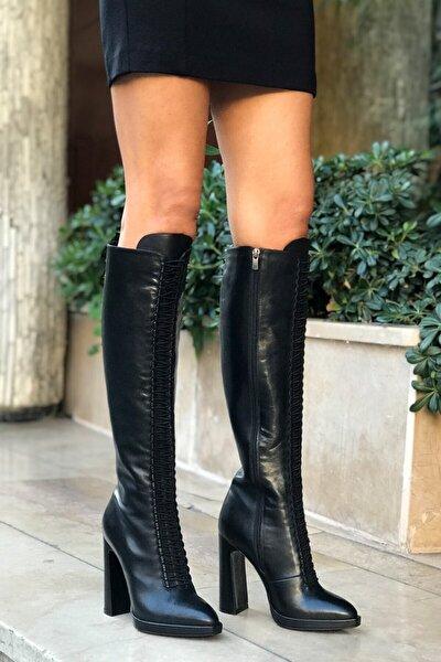 Siyah Hakiki Deri Topuklu Çizme - Arıanna