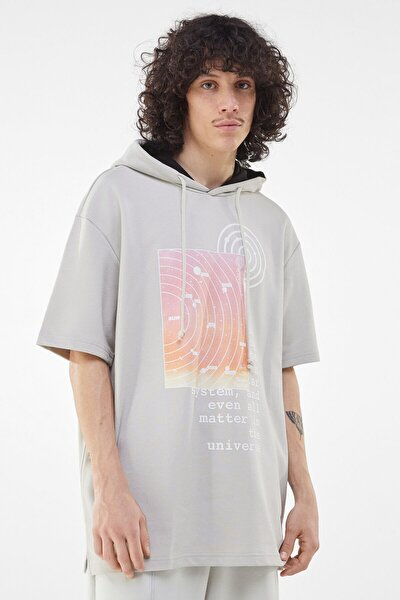 Erkek Gri Baskılı Pamuklu Kapüşonlu T-shirt