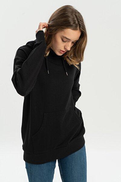 Siyah Kapüşonlu Kadın Sweatshirt