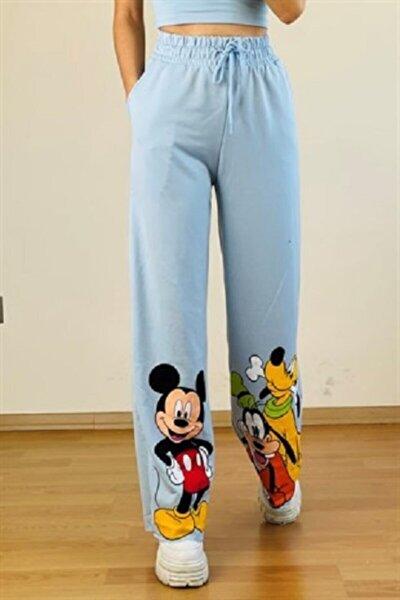 Mickey Mouse Bol Paça Eşofman Mavi