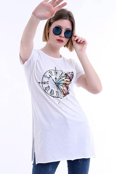 Kadın Beyaz Boncuk Detaylı,saat Baskılır Şık Kısa Kollu Tişört