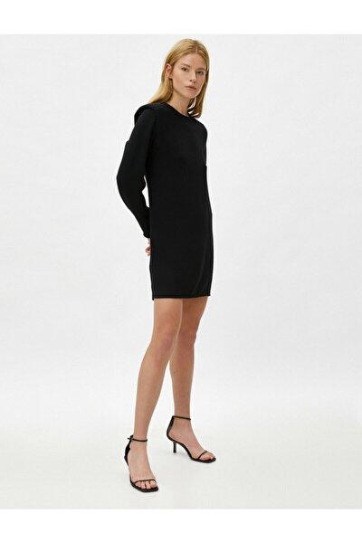 Kadın Siyah Vatkalı Uzun Kollu Mini Elbise