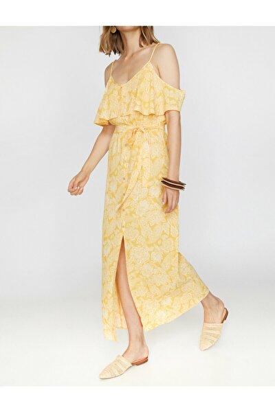 Kadın Sarı Askılı Kısa Kollu Desenli Maxi Elbise 9YAK88631PW