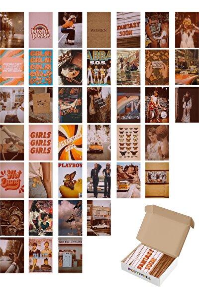 Vintage Duvar Posteri Kolaj Seti - 40 Adet - Estetik - Retro Poster Seti - 10cm*15cm