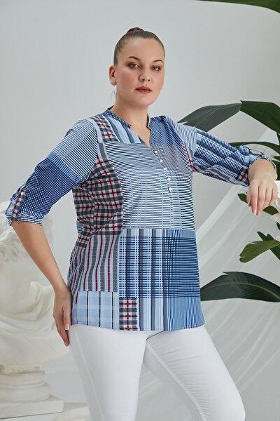 Kadın Mavi Hakim Yaka Geometrik Desenli Büyük Beden  Bluz