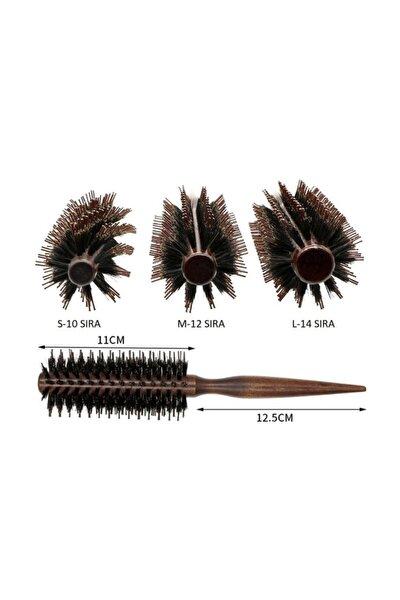 LOM1062 Doğal Kıl Dişli Masif Ahşap Saç Fön Fırçası, Profesyonel, Anti-Heat, Hızlı Kurutma (12 Sıra)