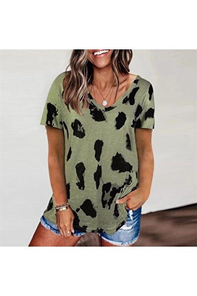 Kadın Yeşil Dijital Baskı Süprem Kumaş V Yaka Bluz 60cm