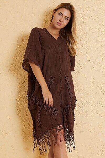 Kadın Kahverengi Pamuklu Plaj Elbisesi