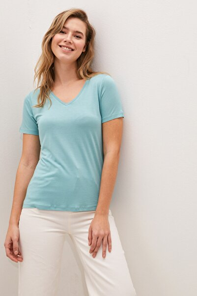 Kadın Mat Turkuaz Classic Tişört