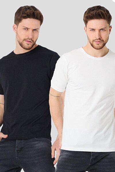 Erkek Siyah Basic Slim Fit Tshirt 2'li