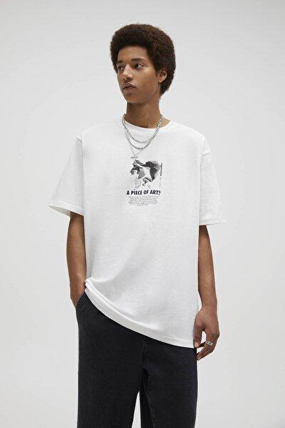 Kırık Beyaz Sloganlı Beyaz Mineral Baskılı T-Shirt 04241565