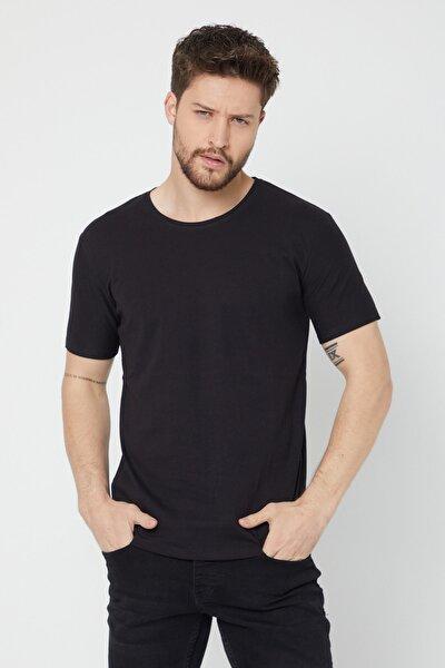 Erkek Siyah Bisiklet Yaka Regular Fit T-shirt