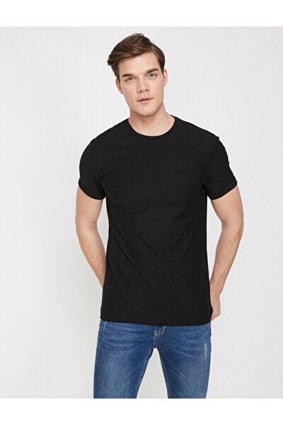 Erkek Siyah Bisiklet Yaka Kısa Kollu T-Shirt 9YAM12059LK