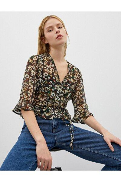 Kadın V Yaka Kruvaze Çiçek Desenli Uzun Kollu Bluz