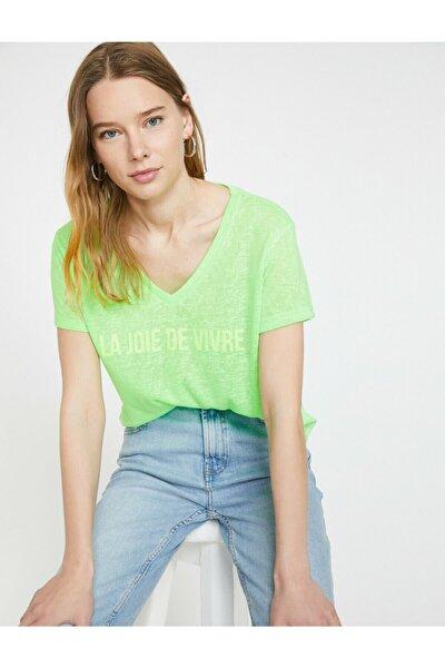 Kadın Yeşil V Yaka Kısa Kollu T-Shirt 9YAK13213EK