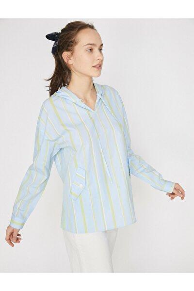 Kadın Mavi Kapüşonlu Uzun Kollu Cep Detaylı Bluz 9YAL68232IW