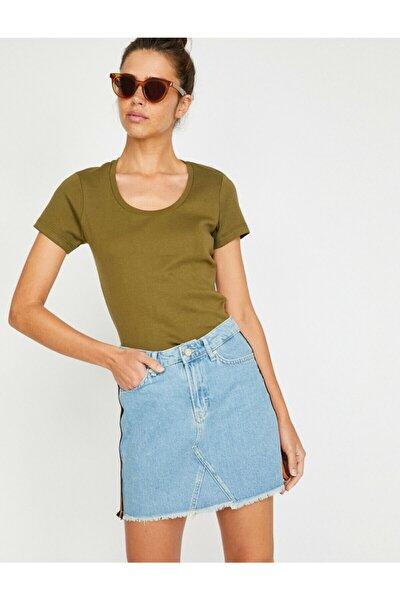 Kadın Yeşil Oyuk Yaka T-shirt