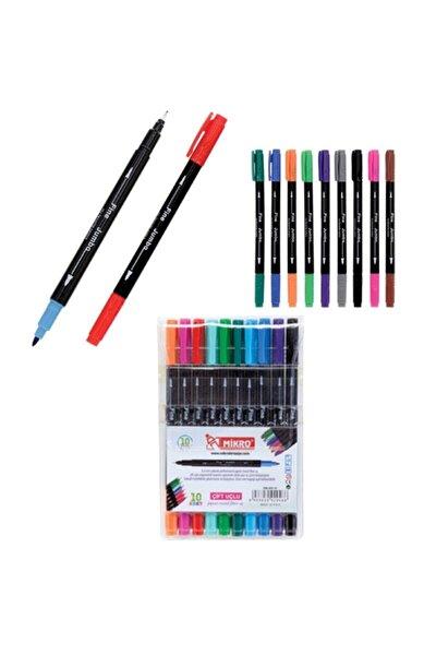 Keçeli Boya Kalemi Çift Uçlu Fineliner 10 Renk Zw 293-10