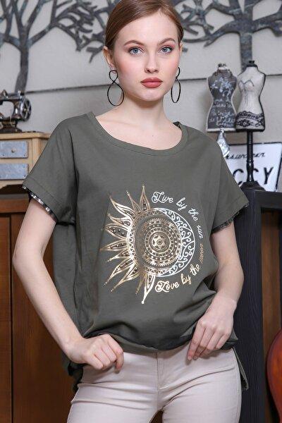 Kadın Haki Düşük Kol Güneş Ve Ay Varak Baskılı Salaş T-Shirt M10010300TS98291