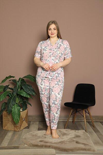 Desenli Battal Beden Pijama Takımı