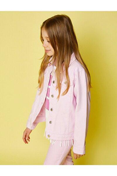 Kız Çocuk Pembe Klasik Yaka Cepli Pamuklu Jean Ceket