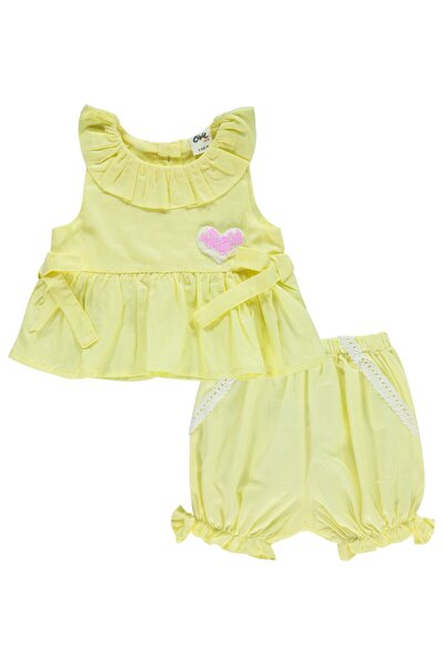 Kız Bebek Sarı Şortlu Takım 6-18 Ay