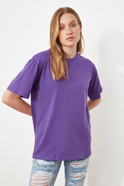 Mor %100 Pamuk Bisiklet Yaka Boyfriend Örme T-Shirt TWOSS20TS0134