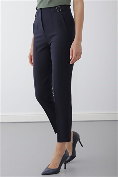 Kadın Lacivert Pervaz Kemer Üstü Apolet Ve Toka Detaylı Dar Paça Pantolon